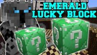 emerald lucky block mod for minecraft logo