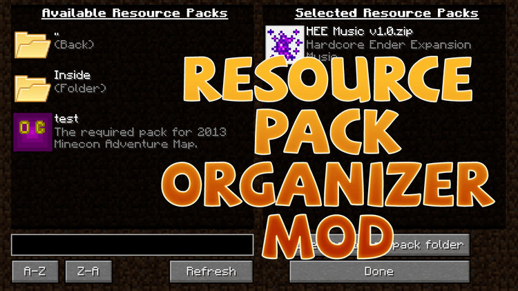 resourcepack organizer mod for minecraft logo