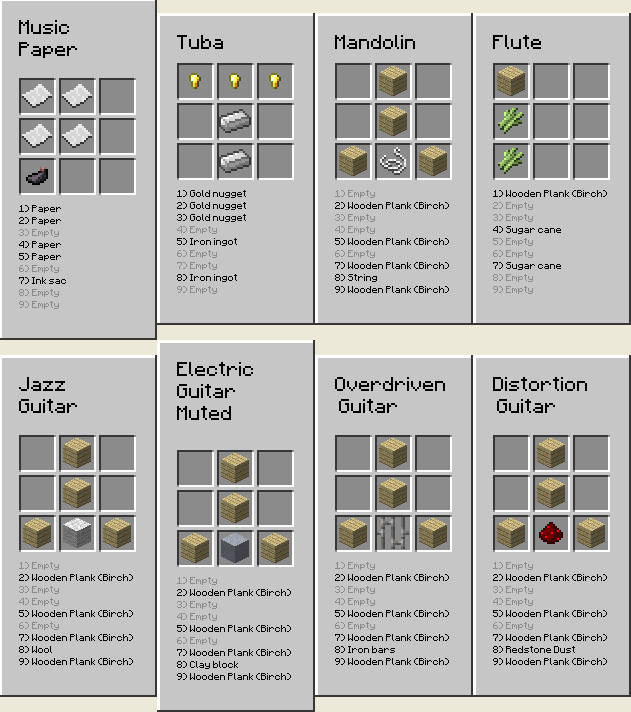 mxTune Mod for Minecraft Crafting Recipe