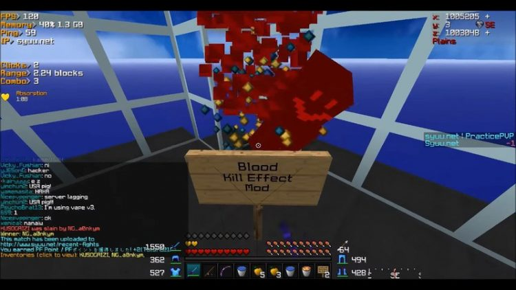 Bloody Kill Effect mod for minecraft 01