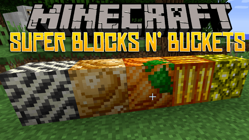 Super Blocks n Buckets mod for minecraft logo
