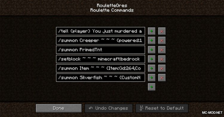 Roulette Ores Mod for Minecraft 1