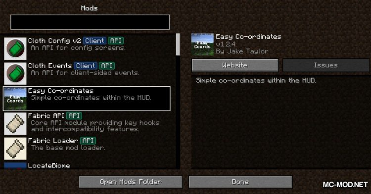 EasyCoords mod for Minecraft (1)