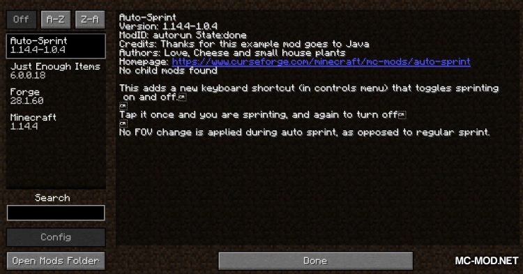 Auto Sprint Key Toggle mod for Minecraft (1)
