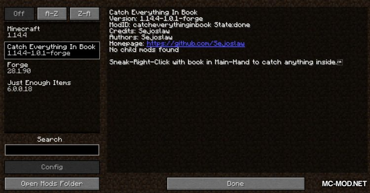 Catch Everything In Book mod for Minecraft (1)