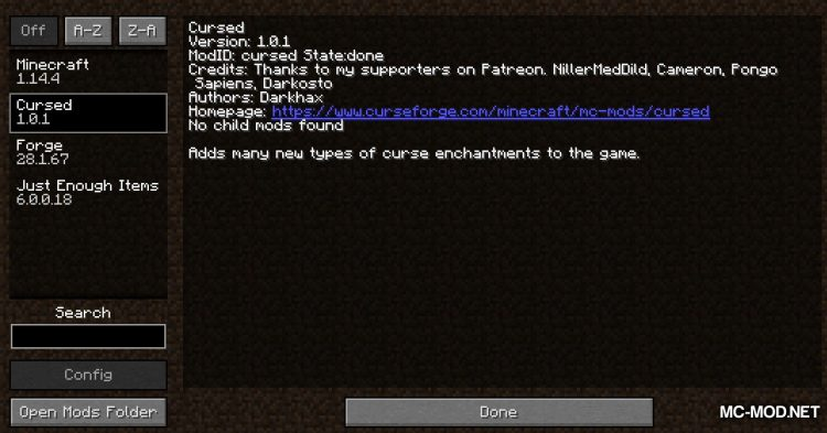 Cursed mod for Minecraft (1)