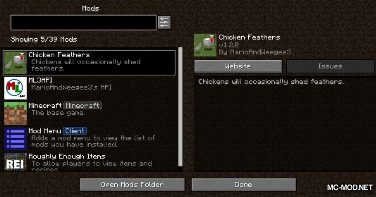 Chicken Feathers mod for Minecraft (1)