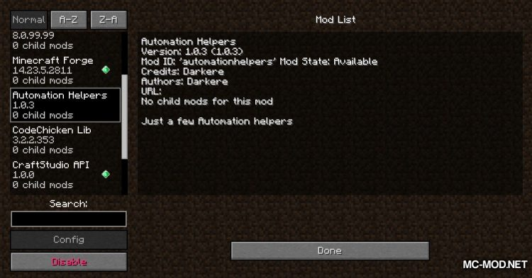Automation Helpers mod for Minecraft (1)