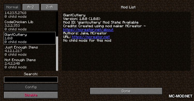 Giant Cutlery mod for Minecraft (1)