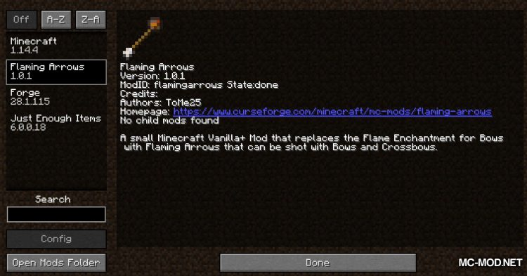 Flaming Arrows mod for Minecraft (1)