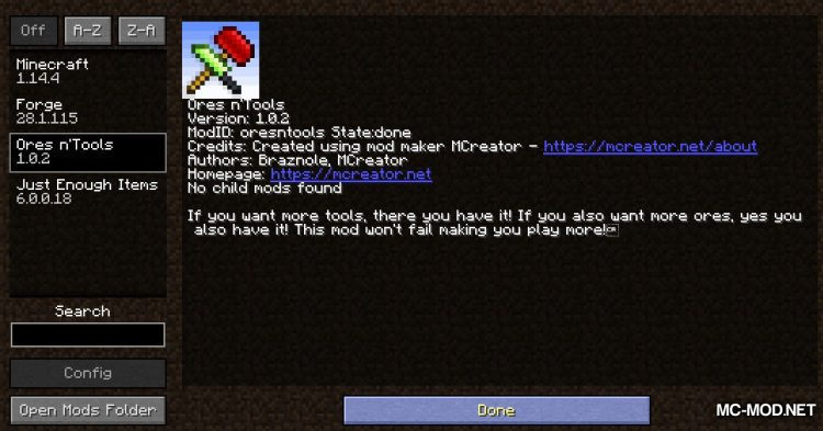 Ores n_Tools mod for Minecraft (1)