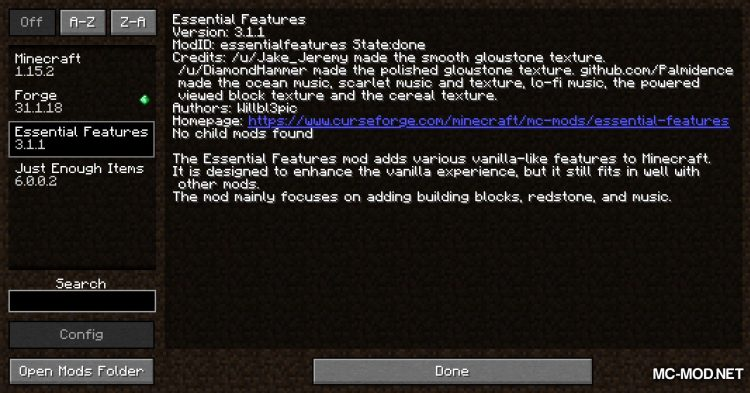 Essential Features mod for Minecraft (1)