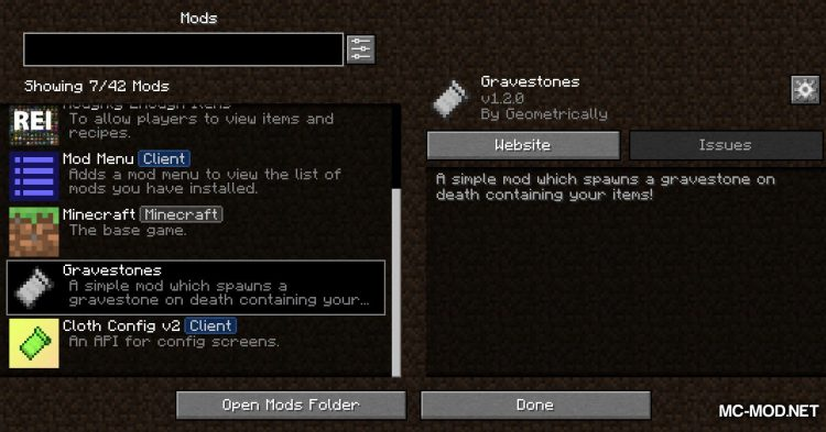 Gravestones mod for Minecraft (1)