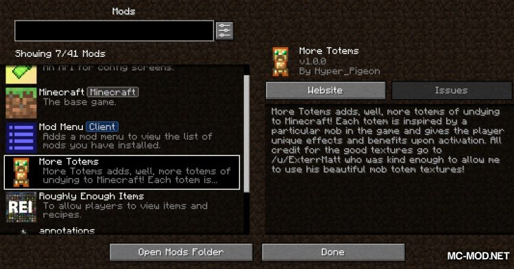 More Totems of Undying mod for Minecraft (1)