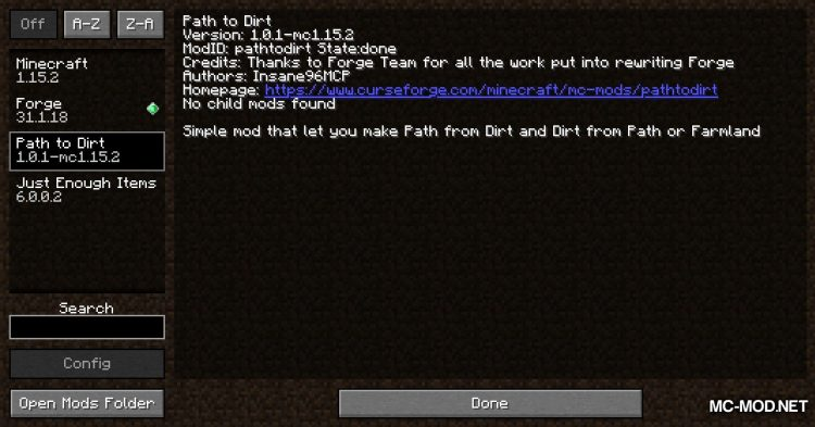 Path To Dirt mod for Minecraft (1)