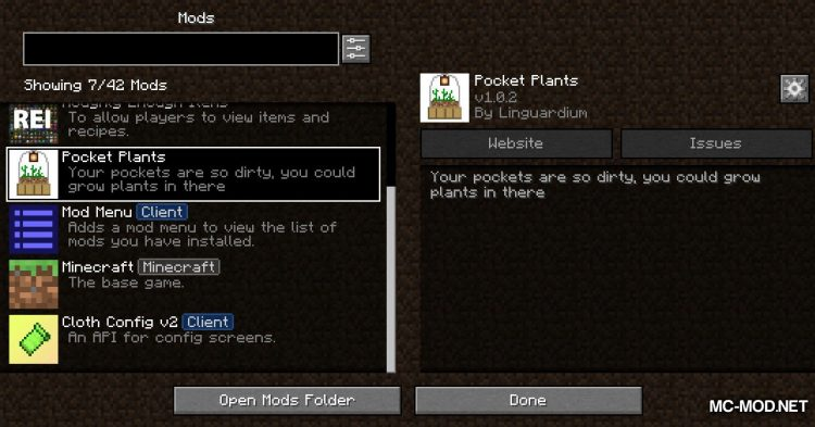 Pocket Plant mod for Minecraft (1)