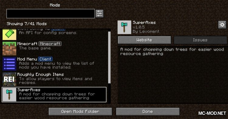 SuperAxes mod for Minecraft (1)