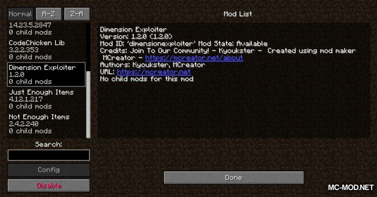 Dimension Exploiter mod for Minecraft (1)