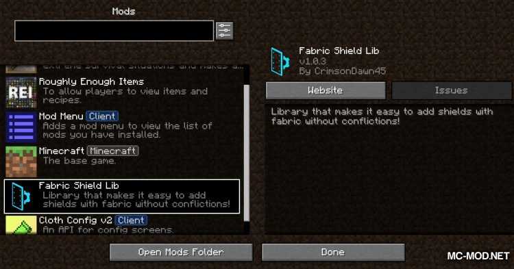 Fabric Shield Lib mod for Minecraft (1)