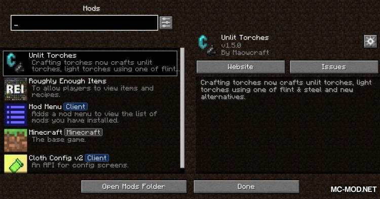 Unlit Torches mod for Minecraft (1)
