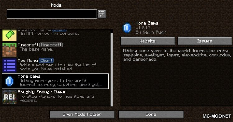 More Gems mod for Minecraft (1)