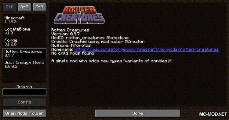Rotten Creatures mod for Minecraft (1)