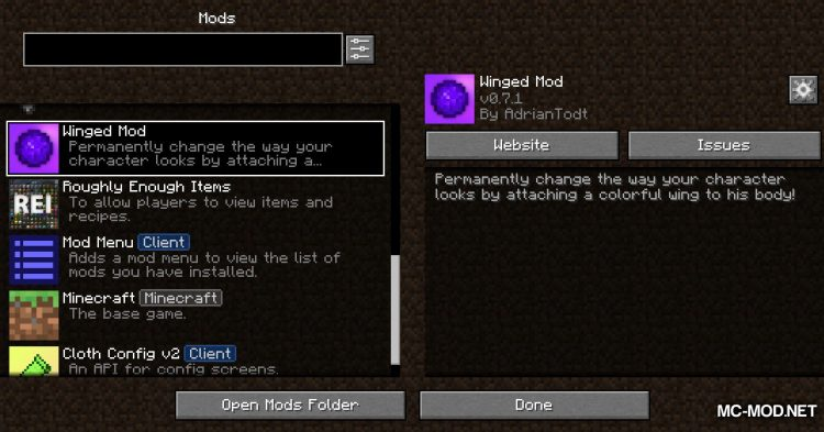 Winged mod for Minecraft (1)