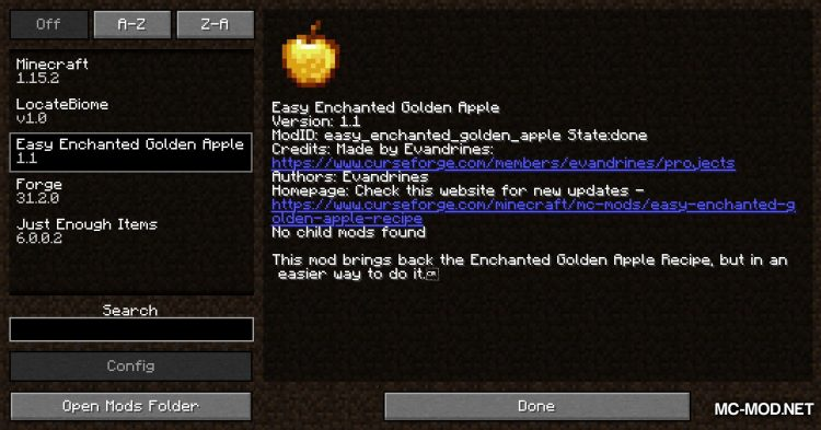 Easy Enchanted Golden Apple Recipe mod for Minecraft (1)