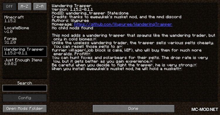 Wandering Trapper mod for Minecraft (1)