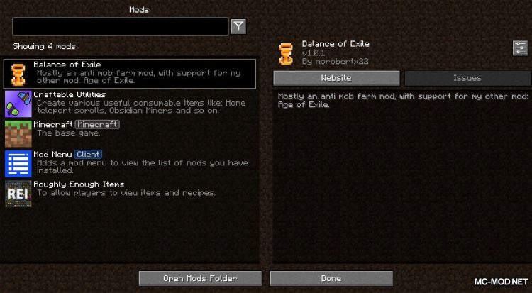 Balance of Exile mod for Minecraft (1)