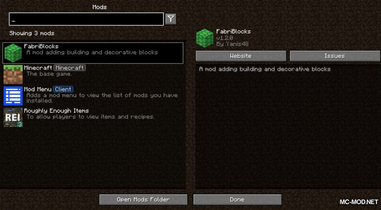 FabriBlocks mod for Minecraft (1)