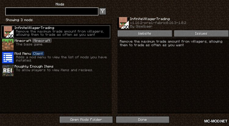 InfiniteVillagerTrading mod for Minecraft (1)