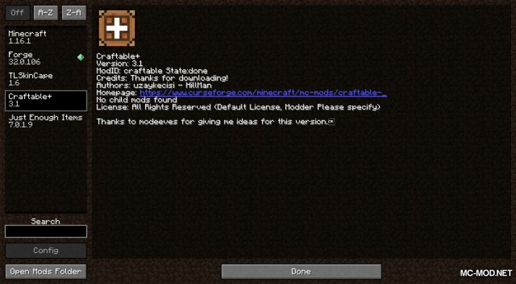 Craftable+ mod for Minecraft (1)
