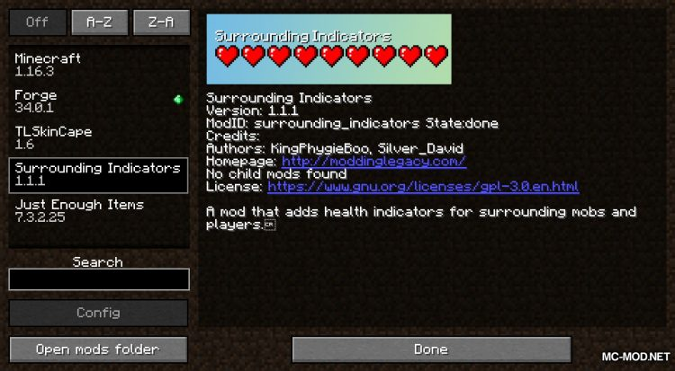 Surrounding Indicators mod for Minecraft (1)