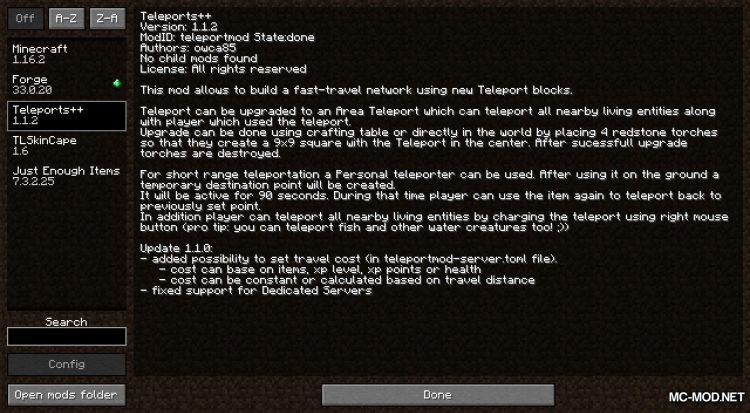Teleport++ mod for Minecraft (1)